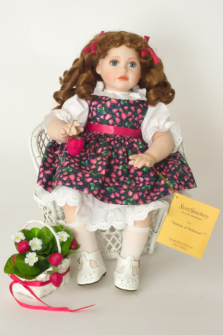 sweet strawberry porcelain soft body collectible doll