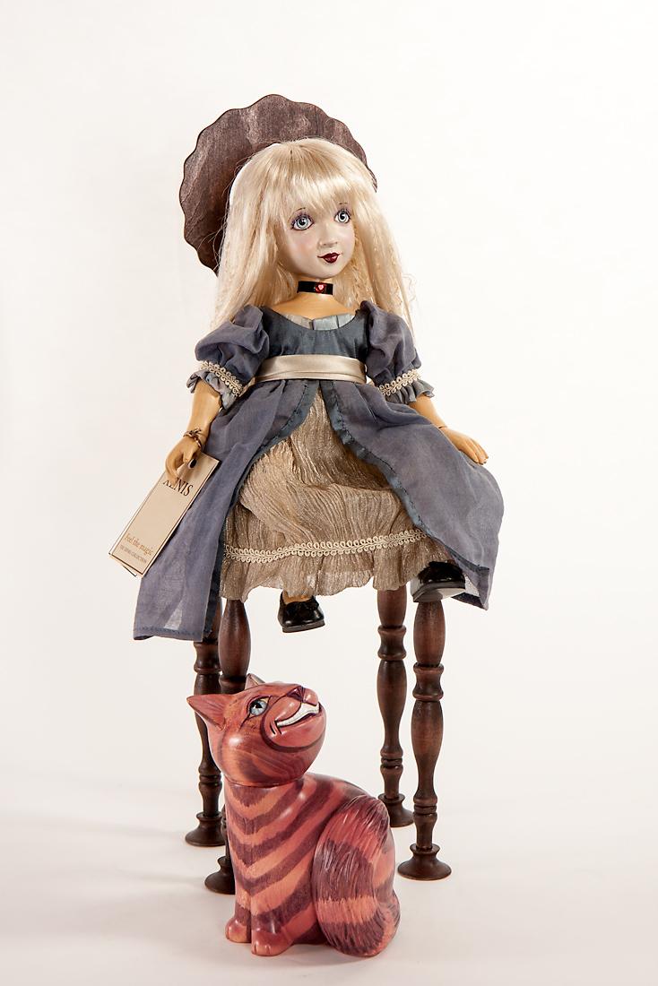 Alice In Wonderland Cheshire Wood Art Doll By Marlene Xenis