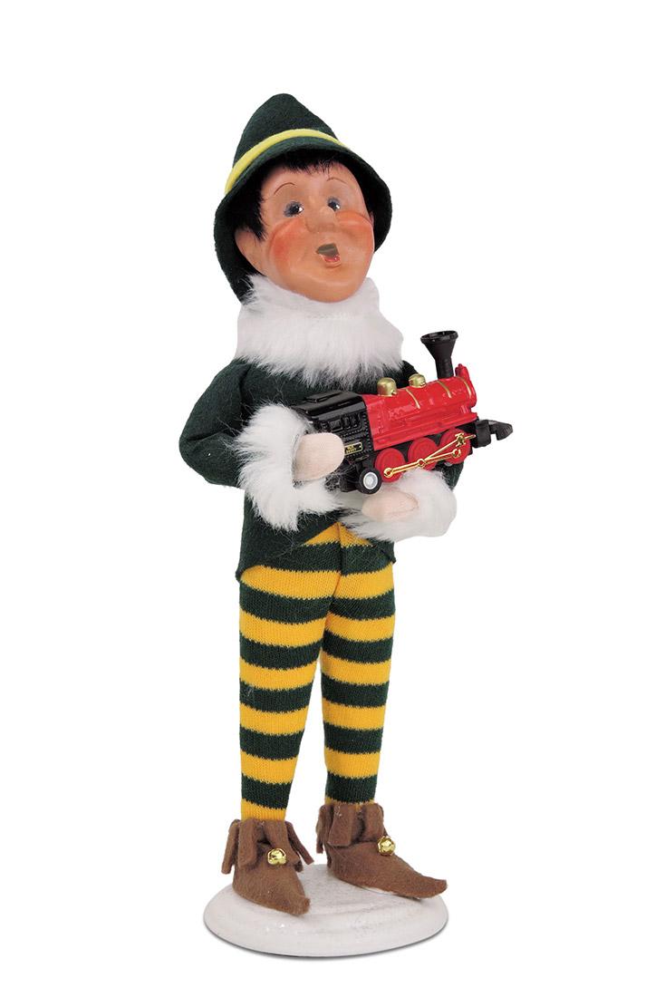 Dino Christmas Elf caroler figurine from Byers\' Choice Ltd.