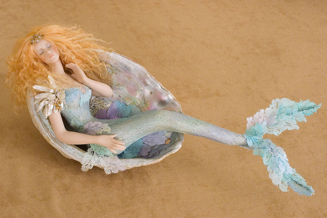 Large Mermaid In Shell M 20 Porcelain One Of A Kind Art