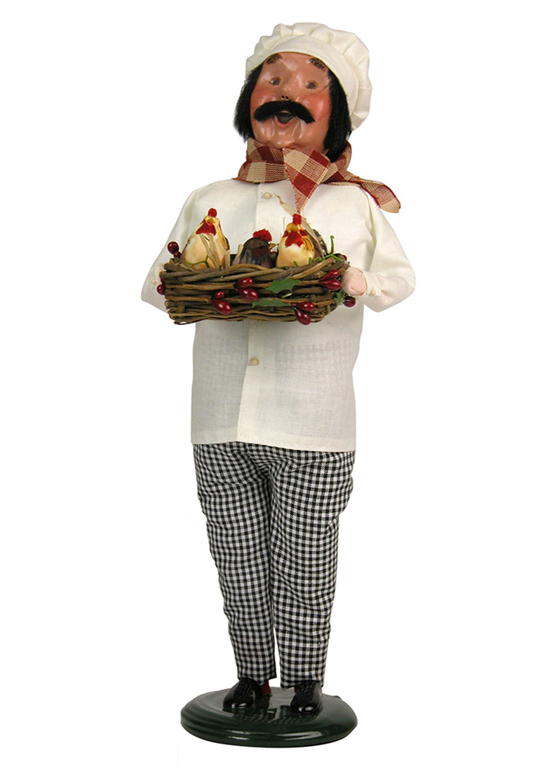 Three French Hens Chef Caroler Figurine By Byers Choice