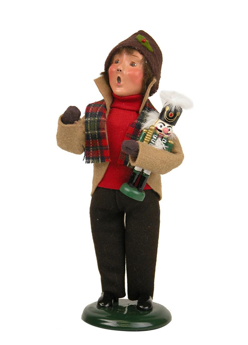 Boy Holding Nutcracker Caroler Figurine By Byers Choice