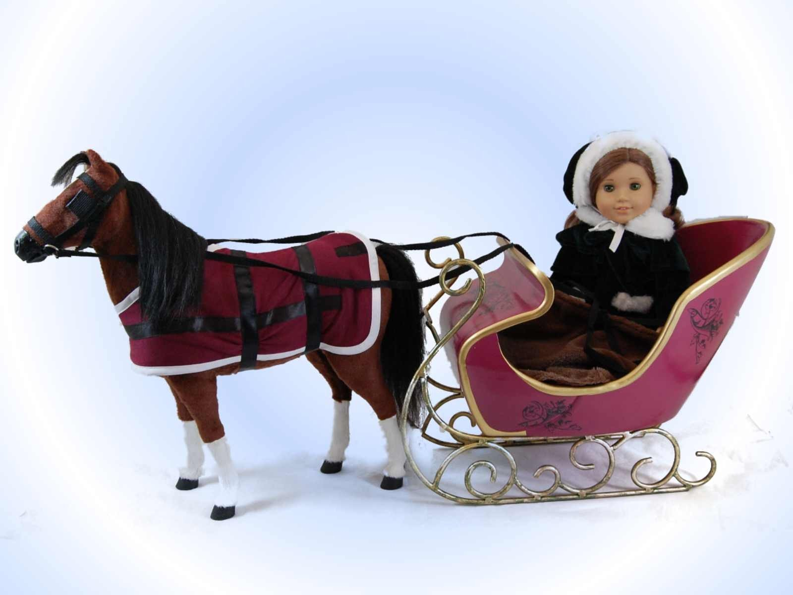 """Victorian Sleigh & Horse Fits 18"""" American Girl¨ Doll"""