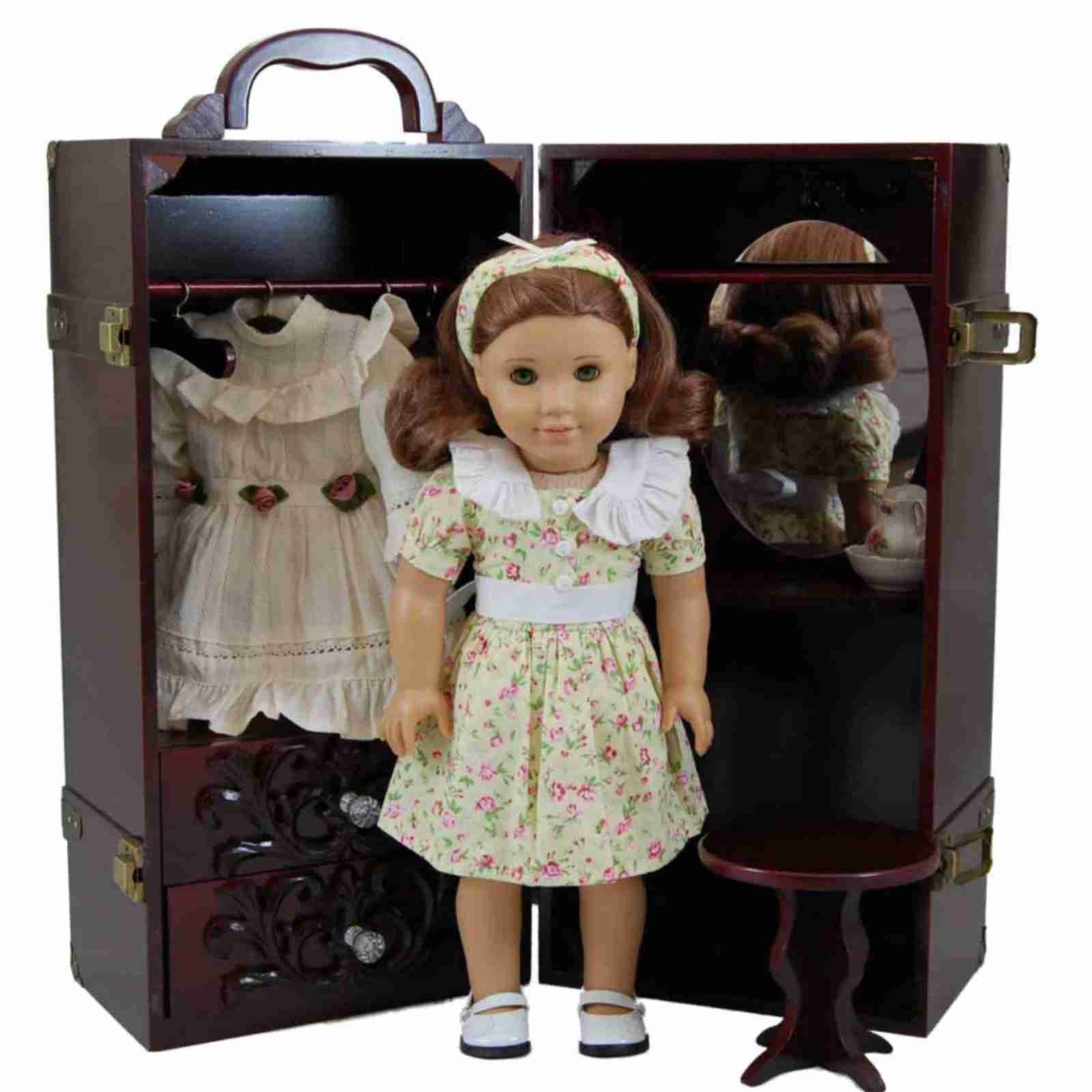 Mahogany Wooden Doll Clothes Storage Trunk With Vanity