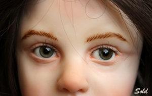 """""""My Sweetie"""" OOAK art doll by Elissa Gallea detail of eyes"""