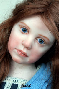 """Close-up face view of Elisa Gallea's art doll """"After Party"""""""