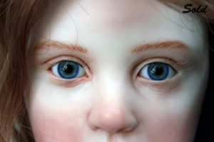 """Detail of eyes for Elisa Gallea's art doll """"After Party"""""""