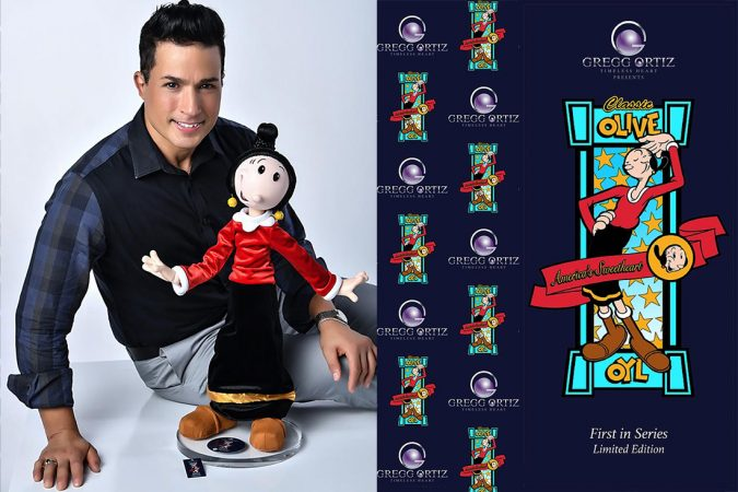 Photo of Gregg Ortiz and his Olive Oyl doll.