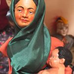 Photo of French santon gypsy woman with baby figure