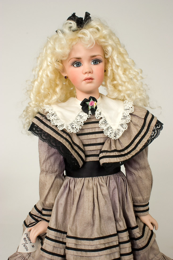 porcelain dolls images poppy ii gray dress porcelain collectible doll 5521
