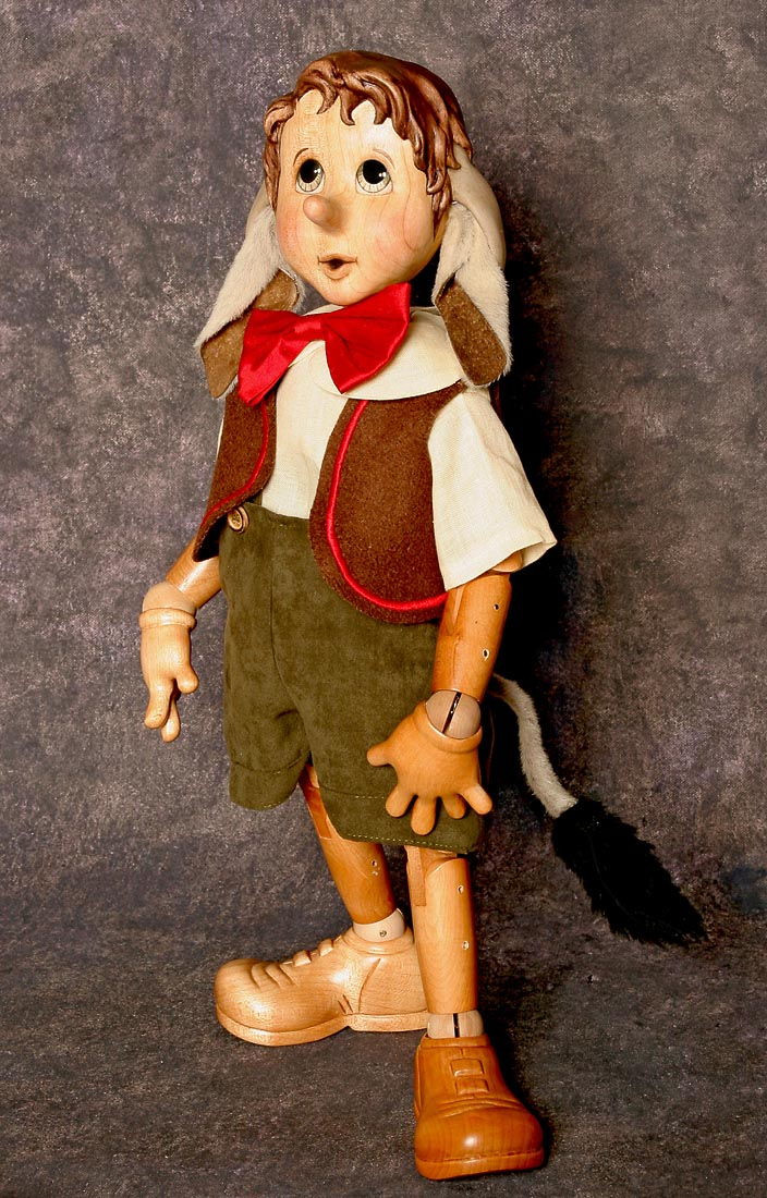 Pinocchio Donkey Ears Wood Art Doll By Marlene Xenis