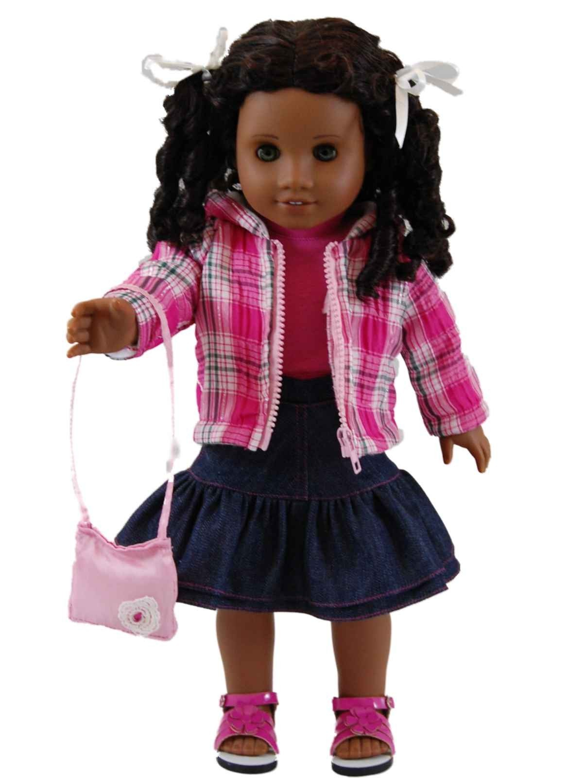 Plaid Jacket And Denim Doll Clothes Skirt Set For 18