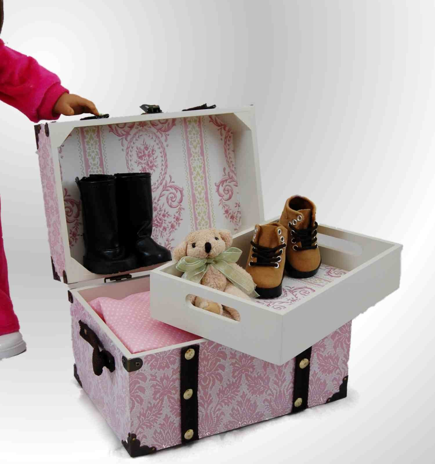 Doll steamer trunk for american girl doll accessories for Furniture accessories