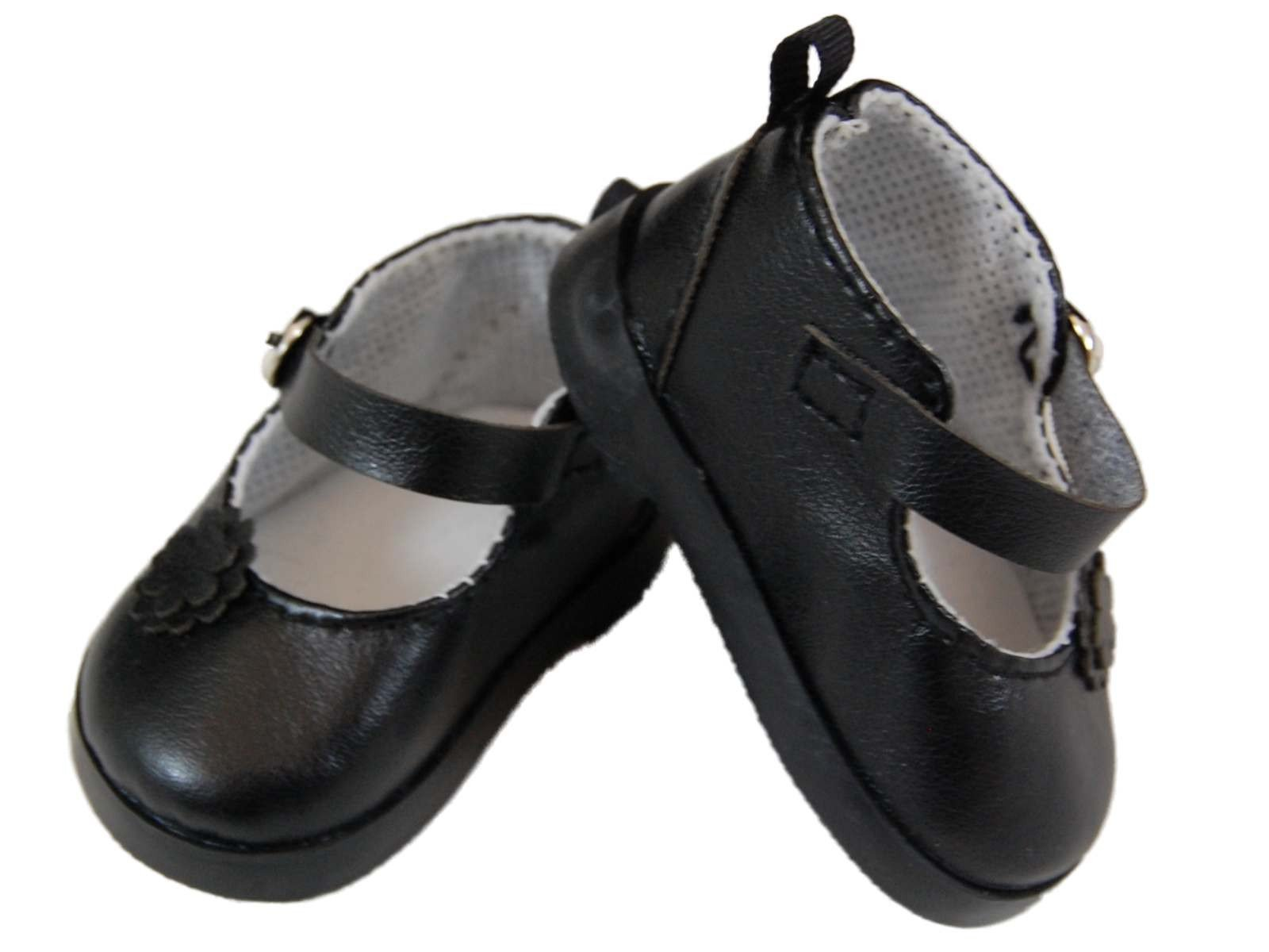 "Black Mary Janes Dress Shoes with Pearl Accents fit 18/"" American Girl Size Doll"