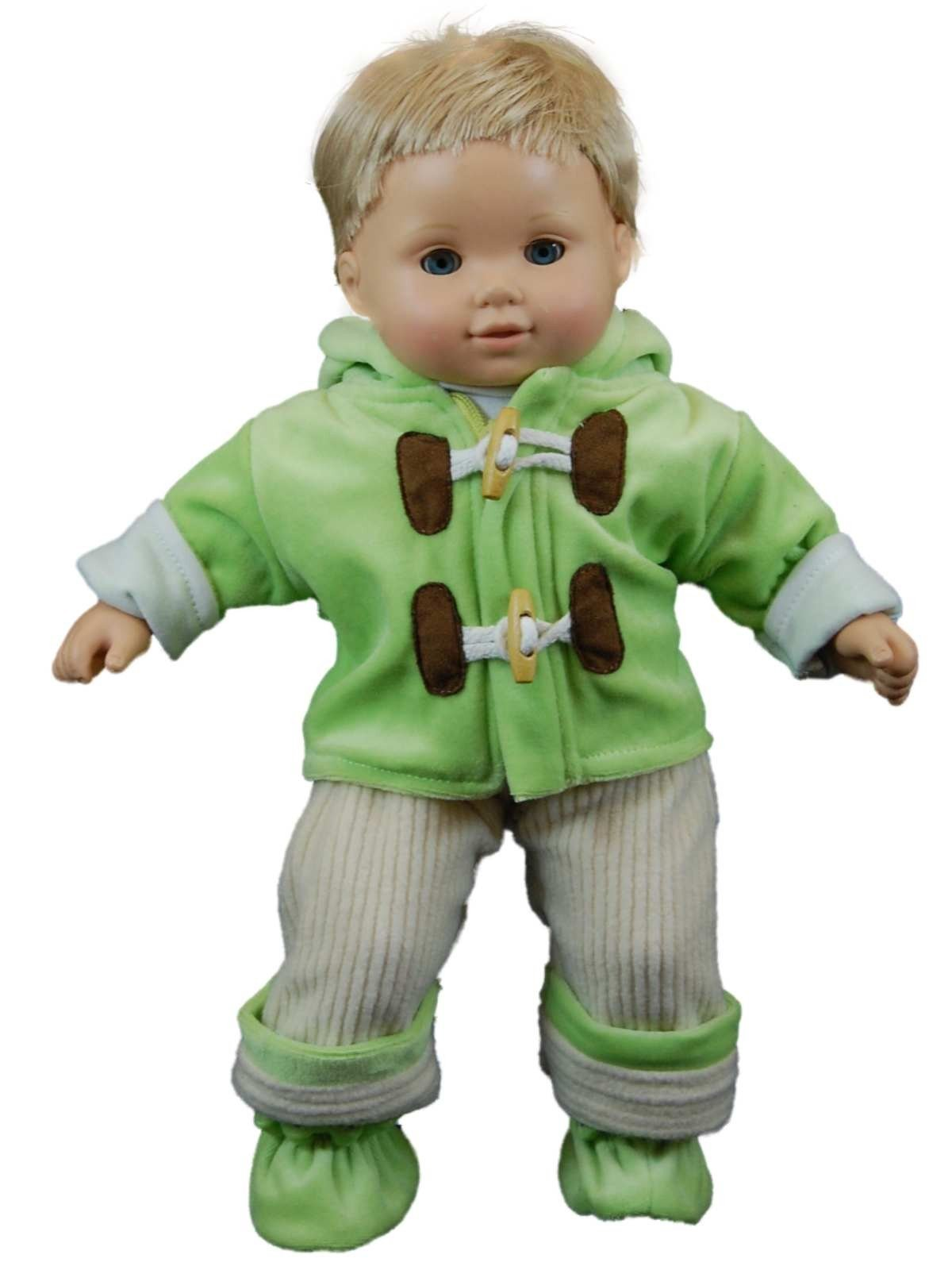 green fleece overall doll clothes outfit for 15 bitty. Black Bedroom Furniture Sets. Home Design Ideas