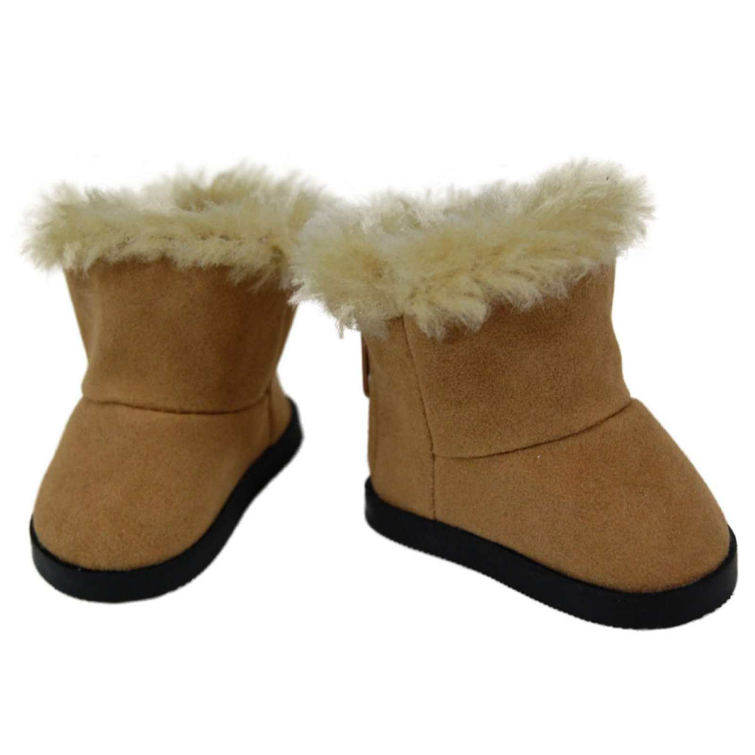 """Boots for American Girl Dolls Faux Suede Bootie with Fur Trim fits 18/"""" Dolls"""