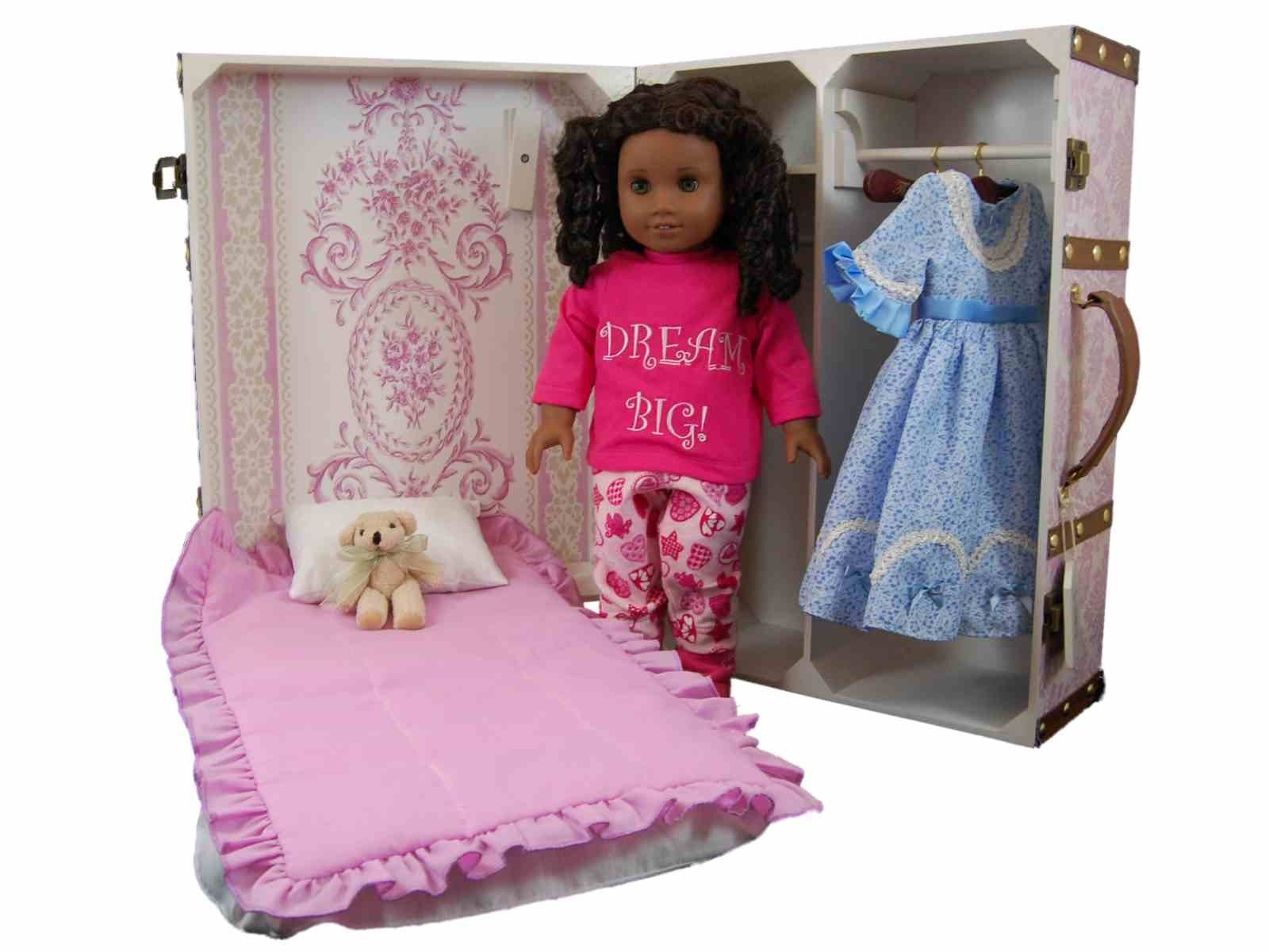 Doll Storage Trunk With Bed For American Girl Dolls Pretty In Pink ...