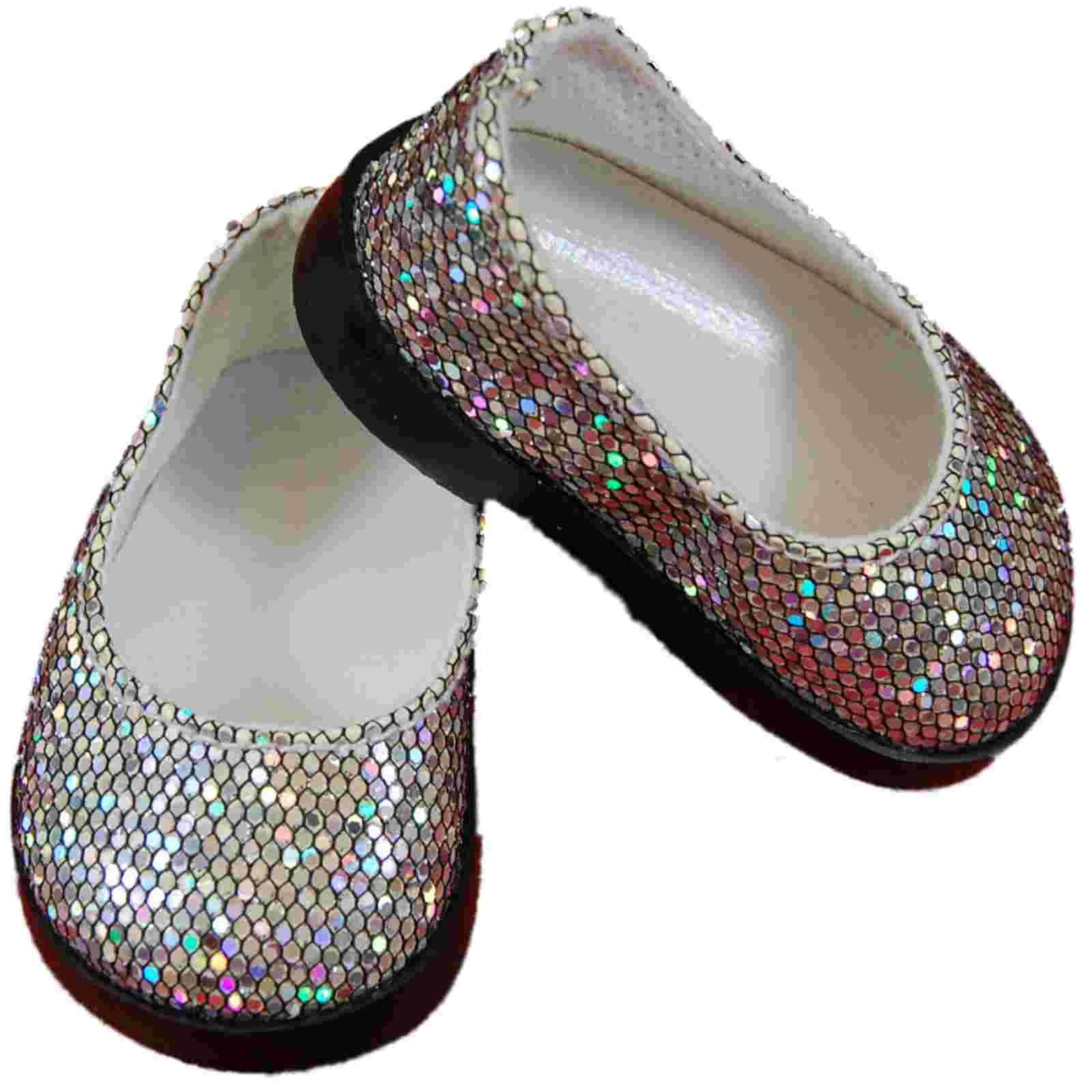 Silver Slip On Shoes For 18 American Girl Doll Clothes