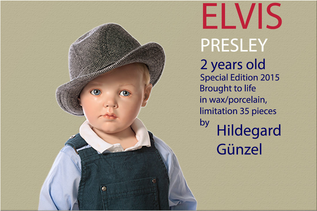 Photo of two year old Elvis Presley doll by Hildegard Gunzel.