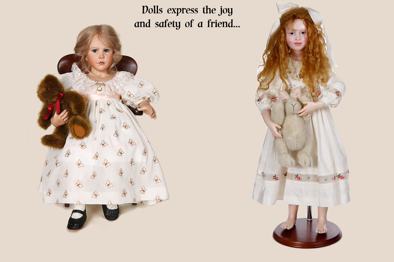 Photo of Amalia Pastor doll and Anna Brahms doll