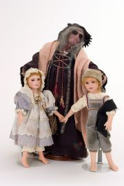 Collectible One of a Kind Wax over Porcelain doll Hansel, Gretel & Witch set by Avigail Brahms