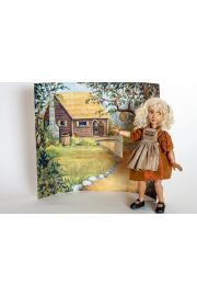 Detail image of Goldilocks wood art doll by Marlene Xenis