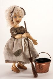Main image of Scullery Maid Cinderella wood art doll by Marlene Xenis