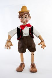 Main image of large Pinocchio wood art doll by Marlene Xenis