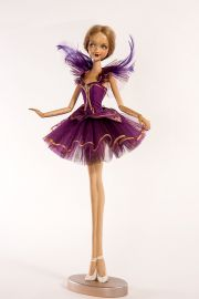 Main image of Violet Ballerina wood art doll by Marlene Xenis