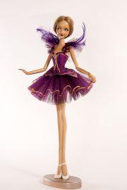 Main image of Violet Ballerina wood art doll by Marlene Xenis