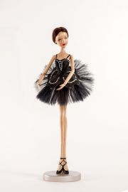 Main image of Prima Ballerina Black Swan wood art doll by Marlene Xenis