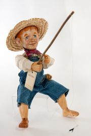 Main image of Huckleberry Finn wood art doll by Marlene Xenis