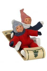 Image of Two Toddlers on Toboggan caroler figurine by Byers' Choice, Ltd.