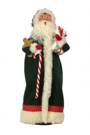 Image of Green Santa with Candy Cane caroler figurine by Byers' Choice, Ltd.