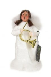 Image of Angel Girl with Horn (Brunette) caroler figurine by Byers' Choice, Ltd.
