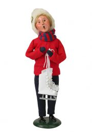 Image of Woman Holding Skates caroler figurine by Byers' Choice, Ltd.