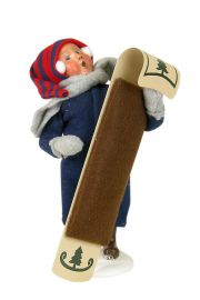 Image of Snow Day Kid with Toboggan caroler figurine by Byers' Choice, Ltd.