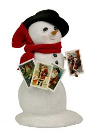 Image of Small Snowman with Postcards caroler figurine by Byers' Choice, Ltd.