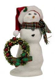 Image of Snowman with Wreath caroler figurine by Byers' Choice, Ltd.
