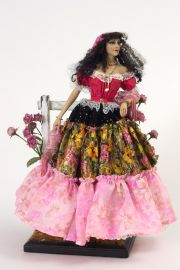 Image of one of a kind Gypsy Girl direct sculpted porcelain art doll by Maria Ahren