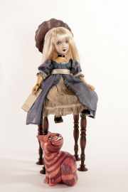 Main image of Alice and Cheshire Cat with chair set wood dolls by Marlene Xenis
