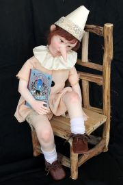 Pinocchio the Real Boy one-of-kind polymer clay art doll by Italian doll artist Elisa Gallea
