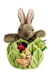 Photo of Hide-Away puppet Rabbit in Lettuce with Mini-Beasts by The Puppet Company Ltd.