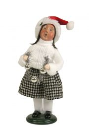 Photo of Girl in Cable Knit White Sweater caroler figurine ZMS241G from Byers' Choice Ltd.