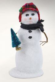 Photographic image of Snowman in Plaid Hat by Byers' Choice Ltd.