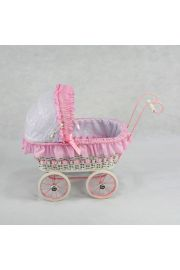 Image of Alexandra white wicker doll carriage from Regal Doll Carriages
