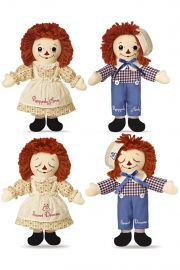Photo of Raggedy Ann and Andy reversible dolls awake (top) and asleep (bottom).