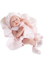 Photo of Berenguer vinyl play doll  La Newborn in pink knit.