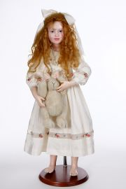 Collectible One of a Kind Polymer Clay doll Girl with Bunny AB39 by Avigail Brahms
