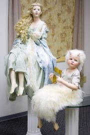 Collectible Artist's Proof Wax over porcelain doll Aglaia and Faun by Hildegard Gunzel